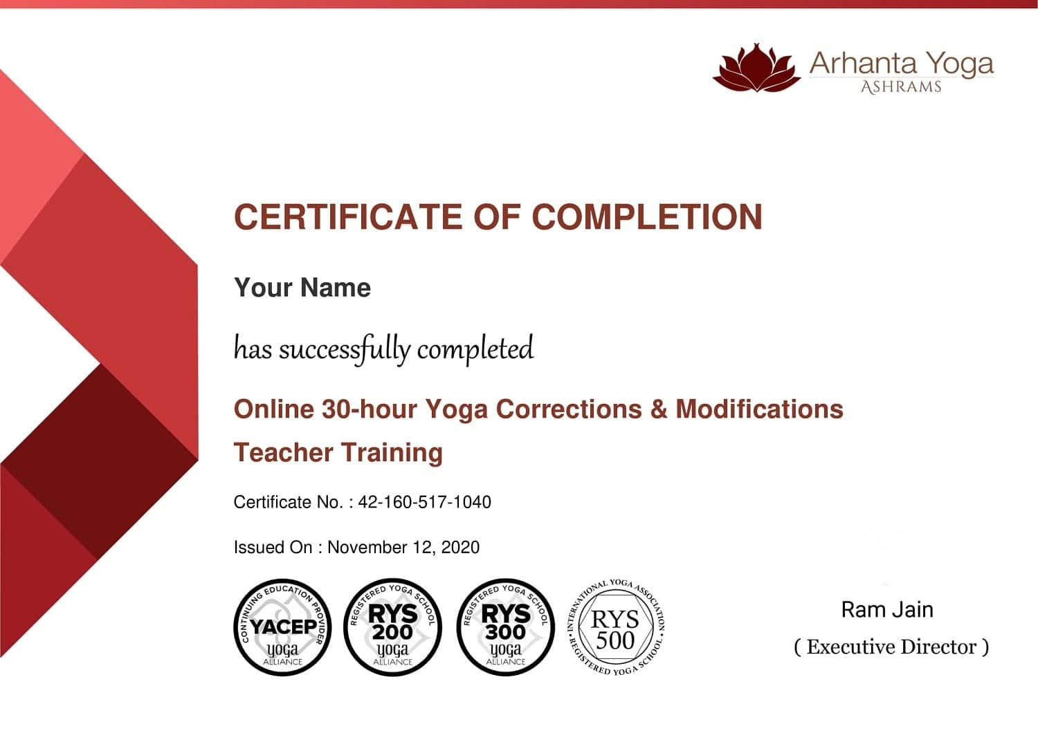 Yoga Hands on assists, correction course certificate